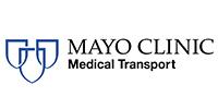 Mayo clinic medical transport logo.