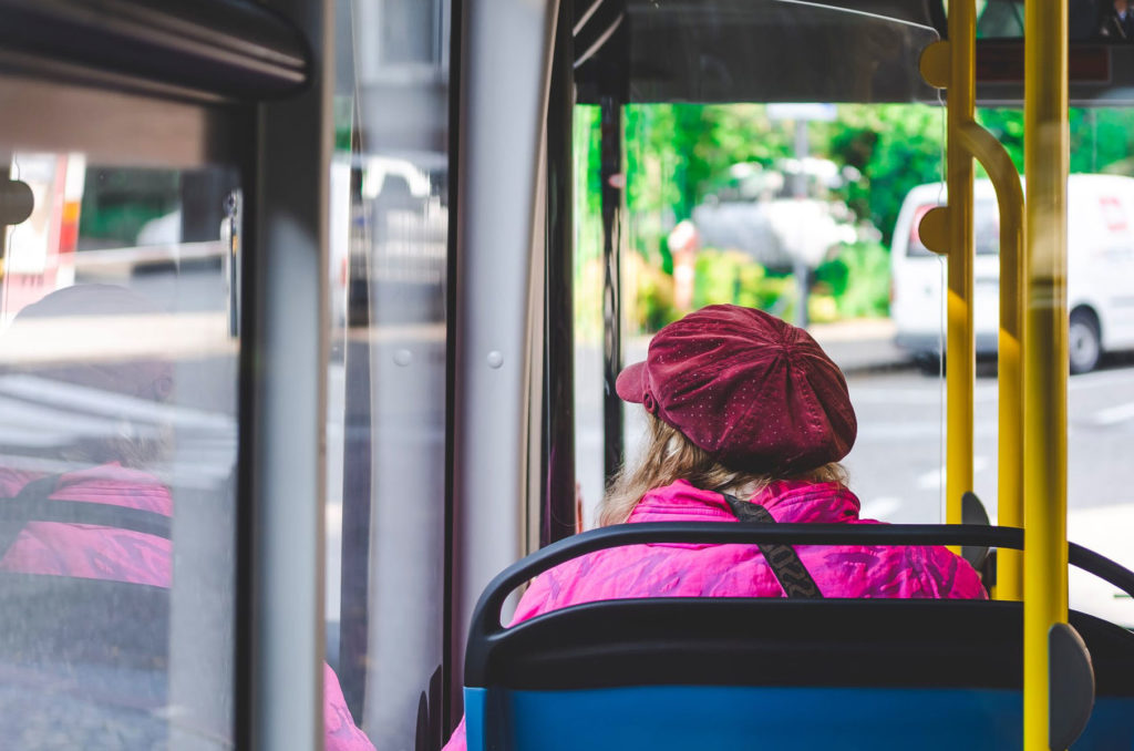woman on a bus.