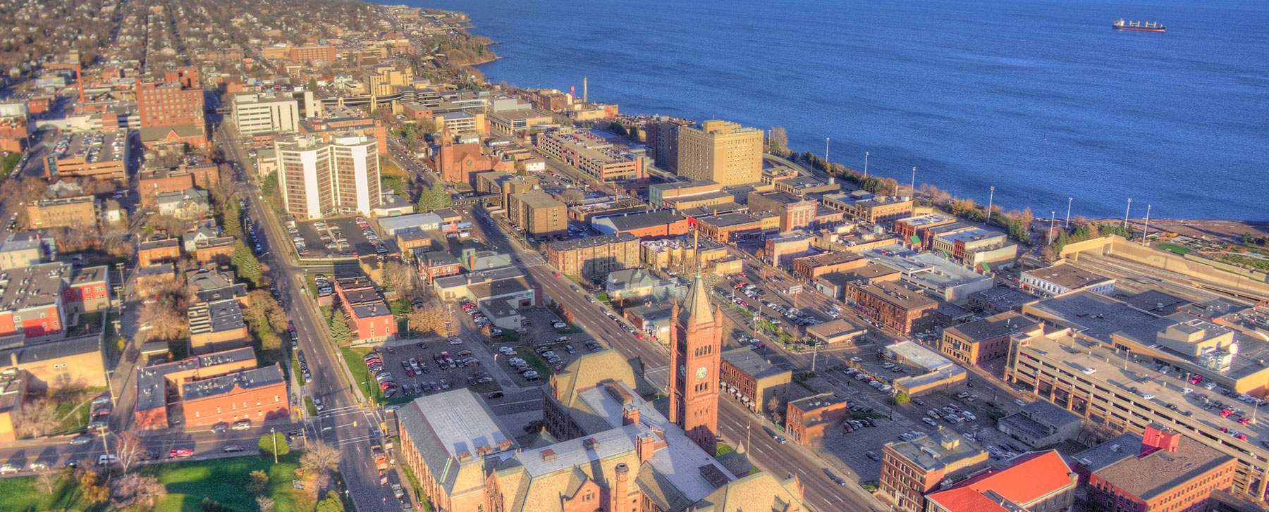 Drone photo of downtown Duluth, MN.